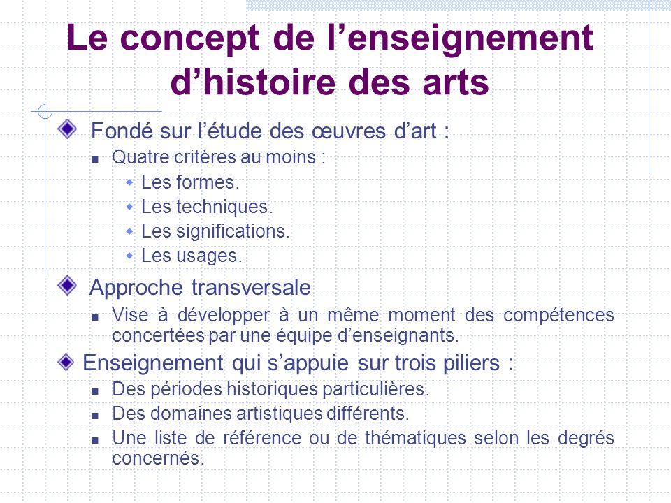 Le concept de l'enseignement d'histoire des arts