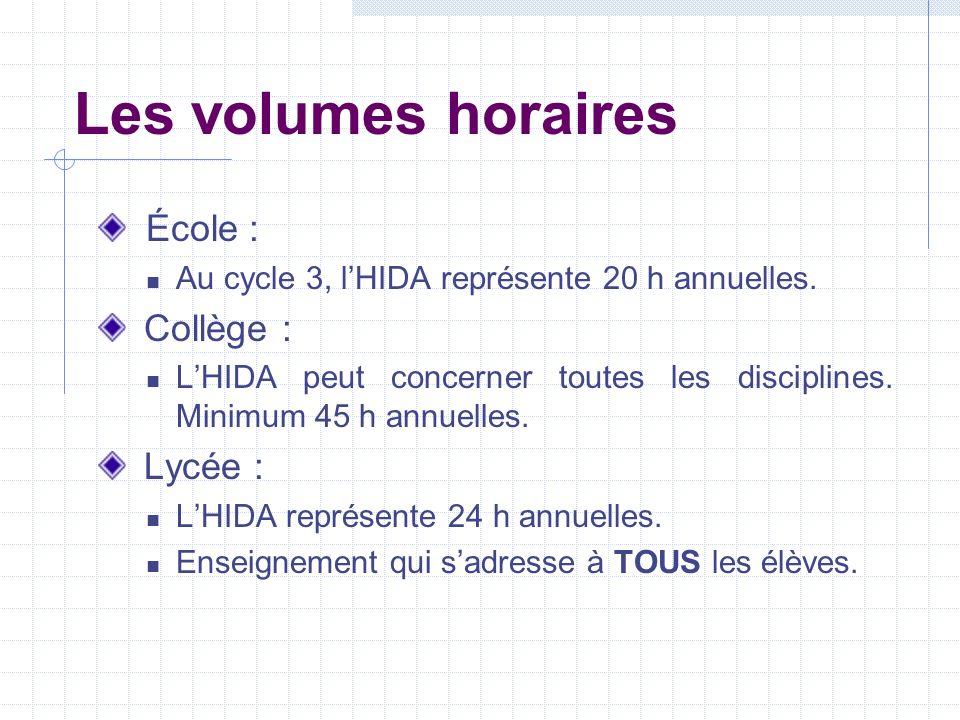 Les volumes horaires École : Collège : Lycée :