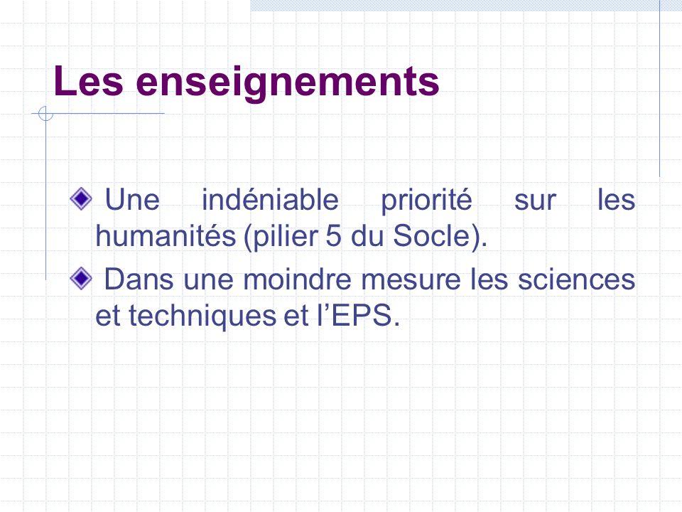 Les enseignements Une indéniable priorité sur les humanités (pilier 5 du Socle).