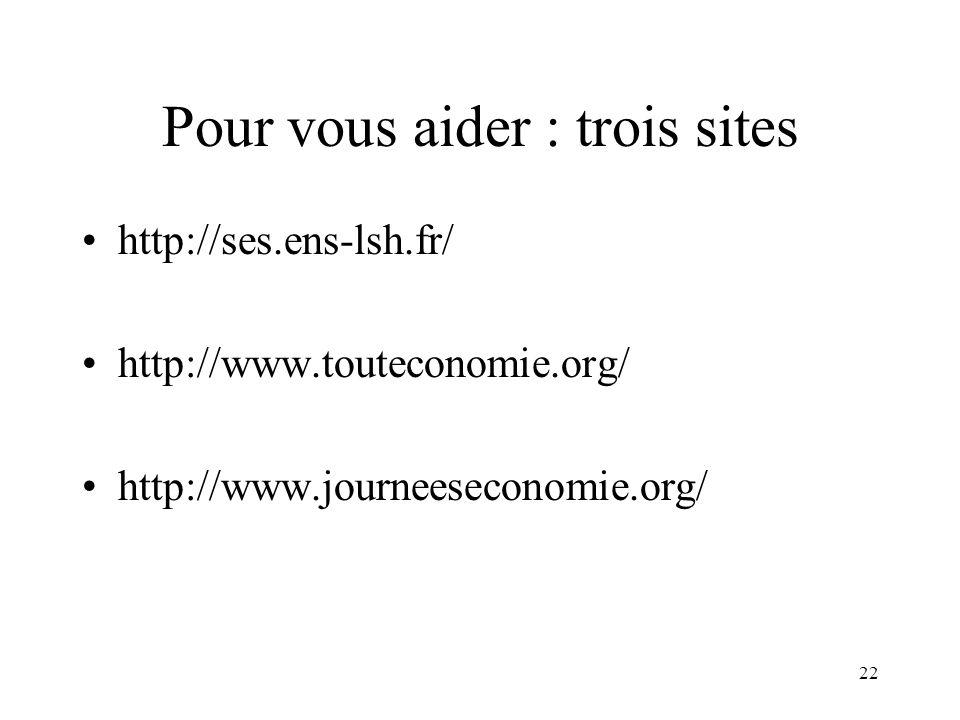 Pour vous aider : trois sites