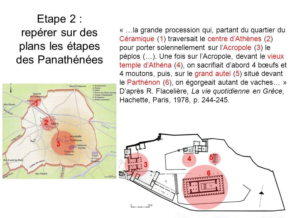Etape 2 : repérer sur des plans les étapes des Panathénées