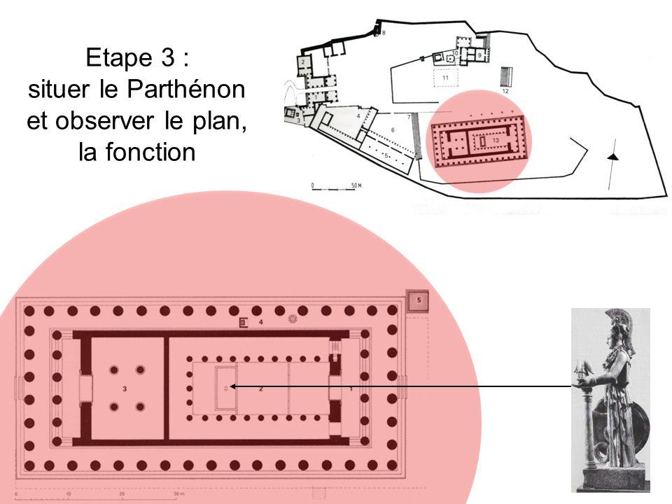 Etape 3 : situer le Parthénon et observer le plan, la fonction
