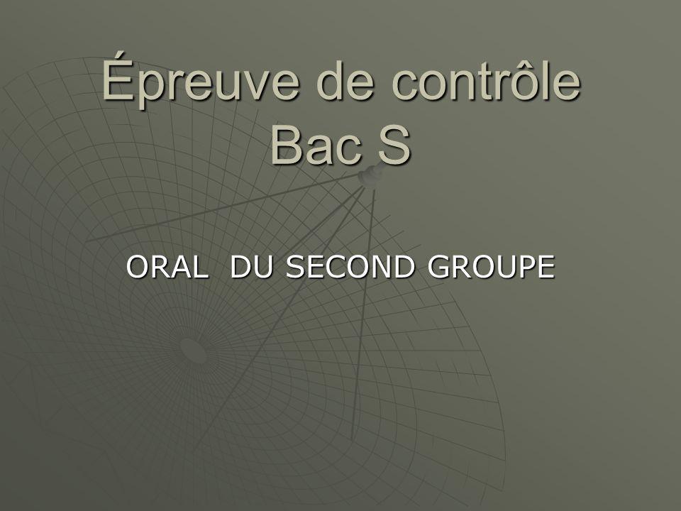 Épreuve de contrôle Bac S