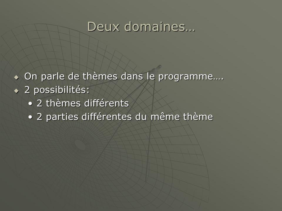 Deux domaines… On parle de thèmes dans le programme…. 2 possibilités: