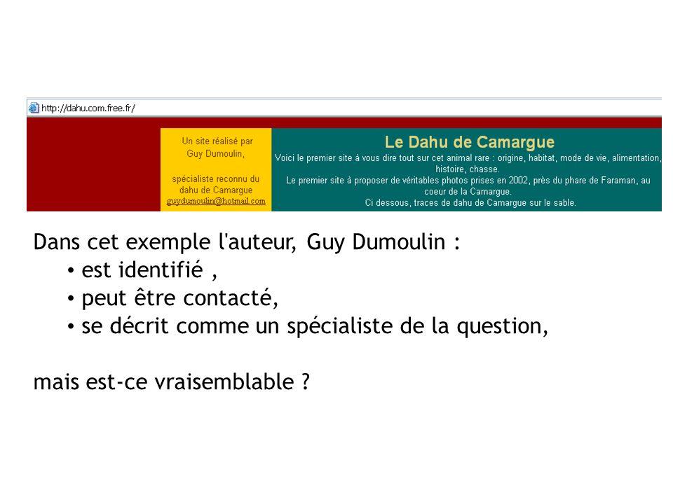 Dans cet exemple l auteur, Guy Dumoulin :