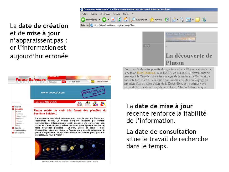 La date de création et de mise à jour n'apparaissent pas : or l'information est aujourd'hui erronée