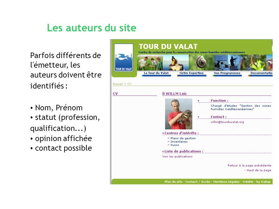Les auteurs du site Parfois différents de l émetteur, les auteurs doivent être identifiés : Nom, Prénom.