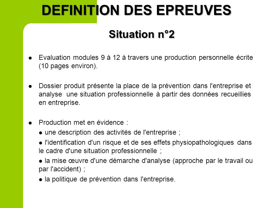 DEFINITION DES EPREUVES