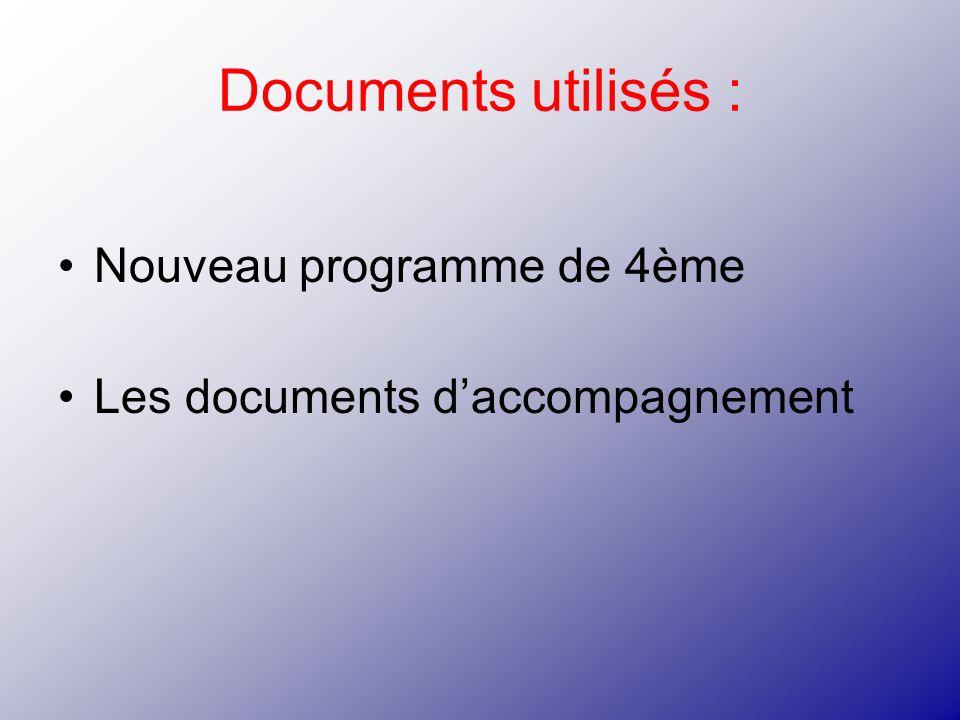 Documents utilisés : Nouveau programme de 4ème