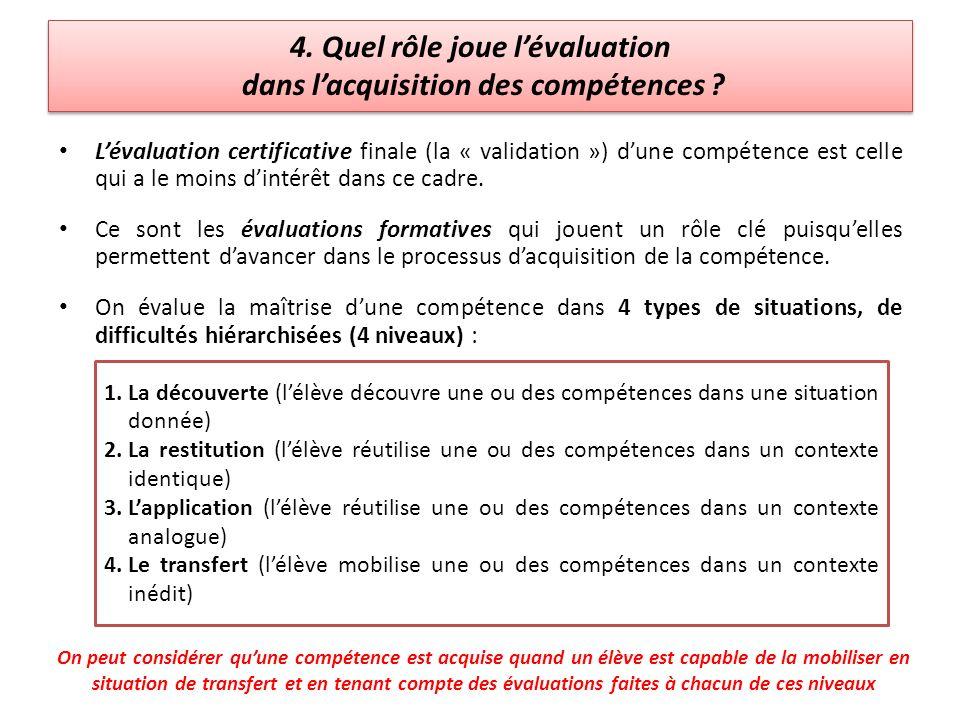 4. Quel rôle joue l'évaluation dans l'acquisition des compétences