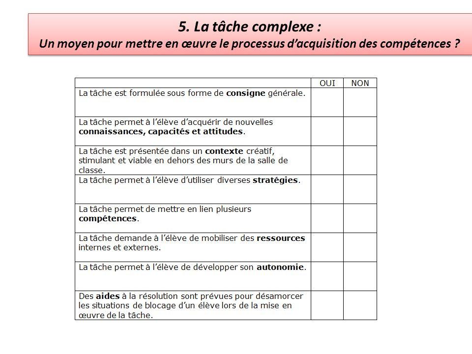 5. La tâche complexe : Un moyen pour mettre en œuvre le processus d'acquisition des compétences