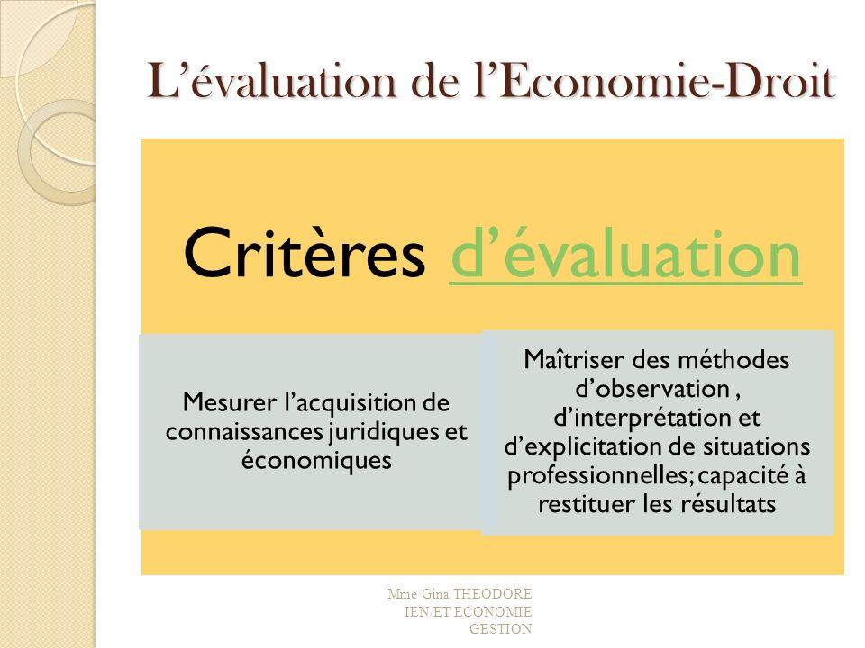 L'évaluation de l'Economie-Droit
