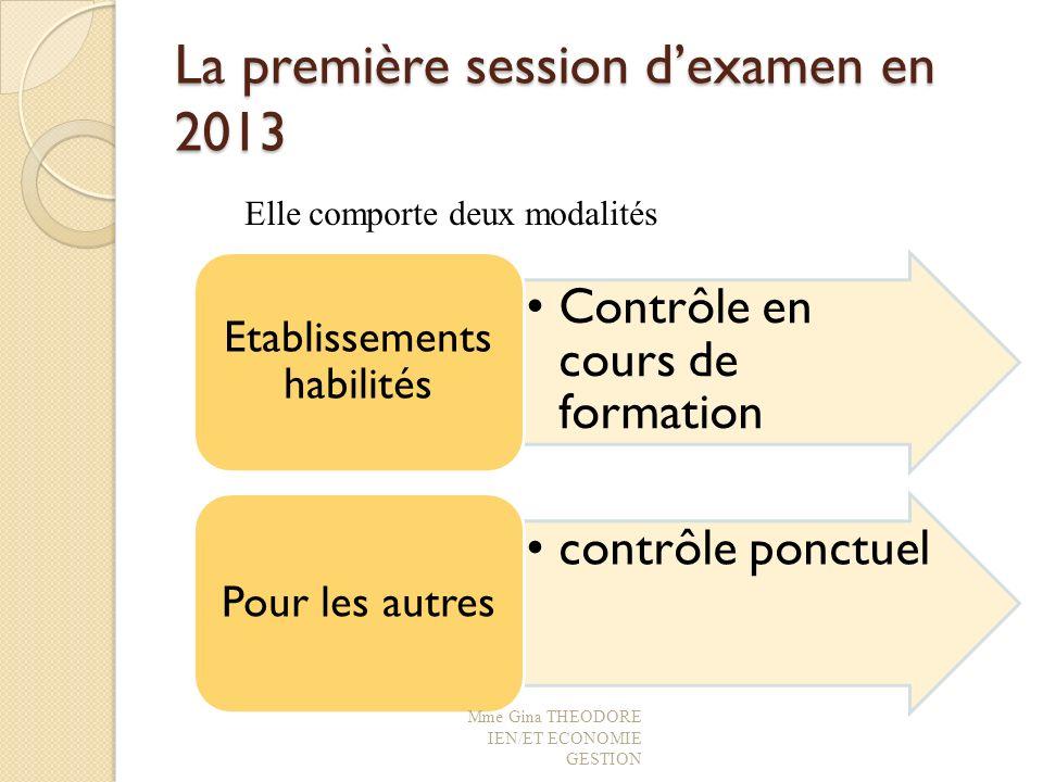 La première session d'examen en 2013