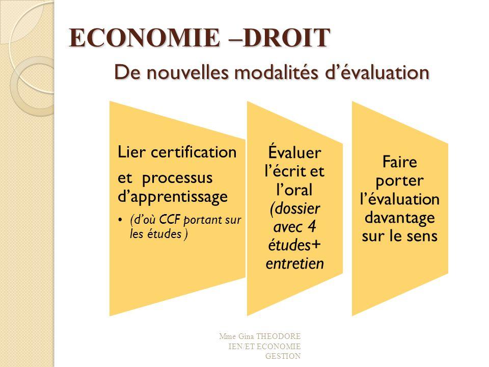 ECONOMIE –DROIT De nouvelles modalités d'évaluation