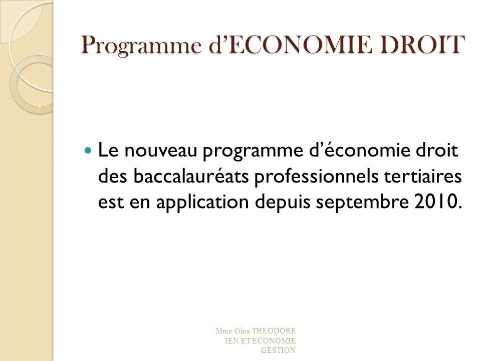 Programme d'ECONOMIE DROIT