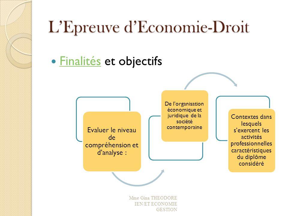 L'Epreuve d'Economie-Droit