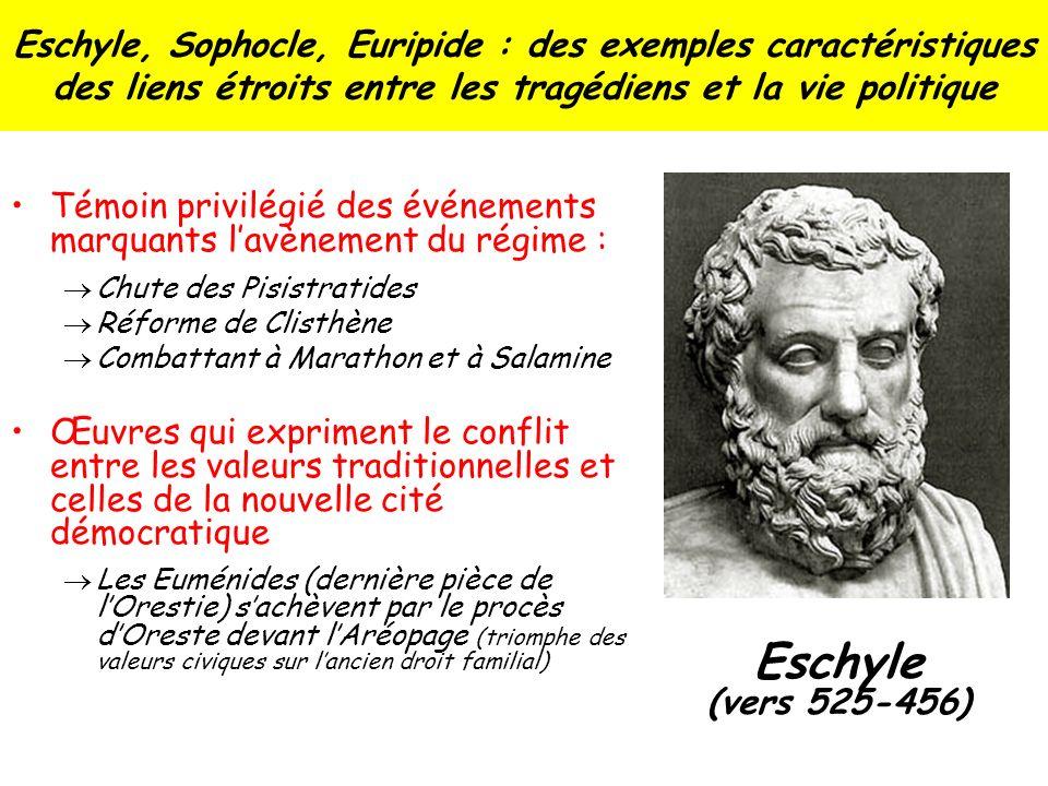 Eschyle, Sophocle, Euripide : des exemples caractéristiques des liens étroits entre les tragédiens et la vie politique