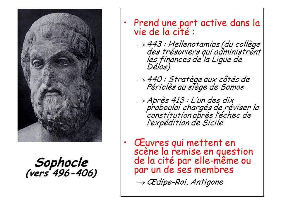 Sophocle (vers 496-406) Prend une part active dans la vie de la cité :