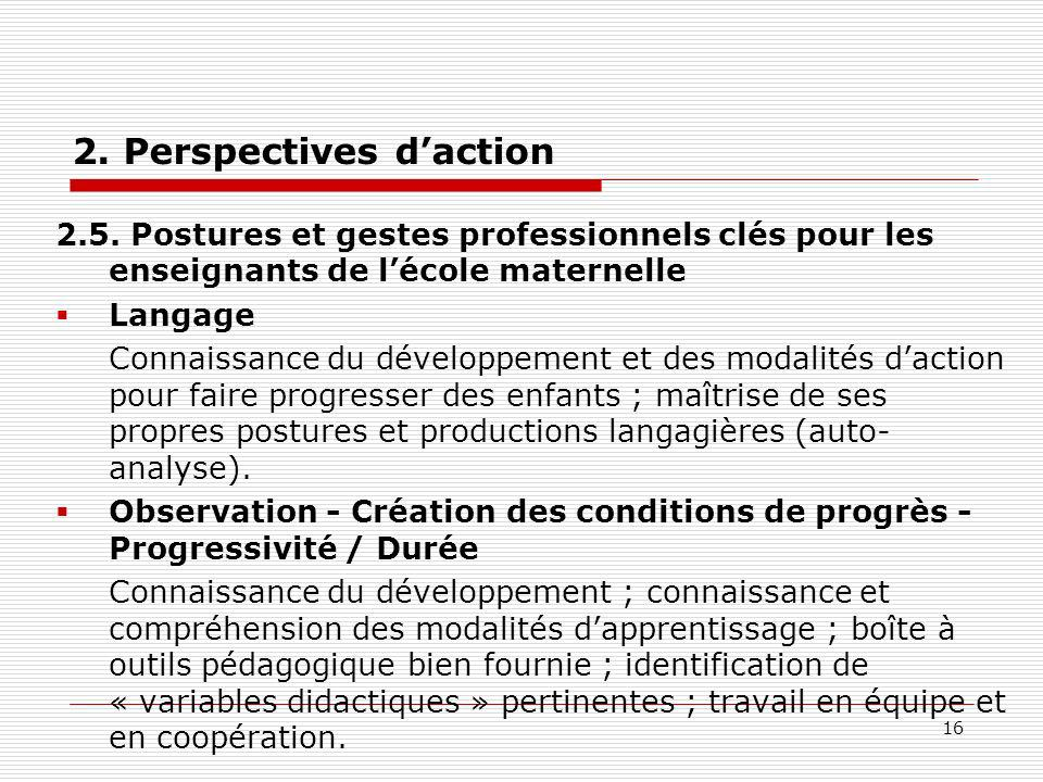 2. Perspectives d'action