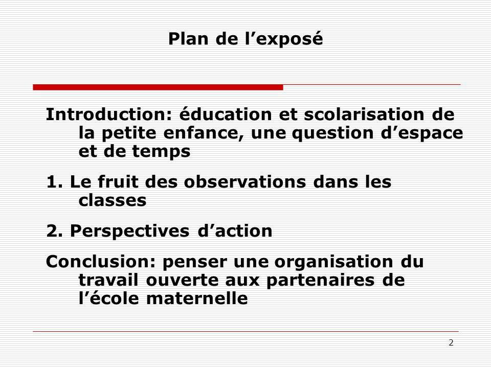 Plan de l'exposé Introduction: éducation et scolarisation de la petite enfance, une question d'espace et de temps.