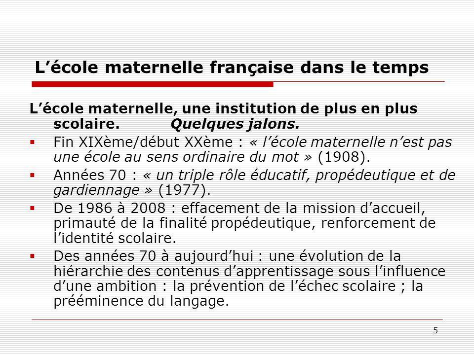 L'école maternelle française dans le temps