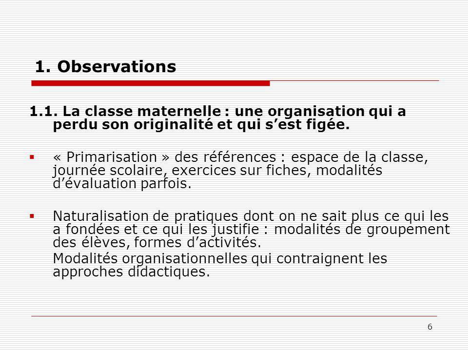 1. Observations 1.1. La classe maternelle : une organisation qui a perdu son originalité et qui s'est figée.