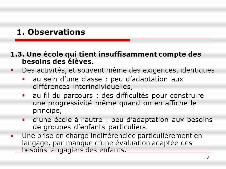 1. Observations 1.3. Une école qui tient insuffisamment compte des besoins des élèves. Des activités, et souvent même des exigences, identiques.