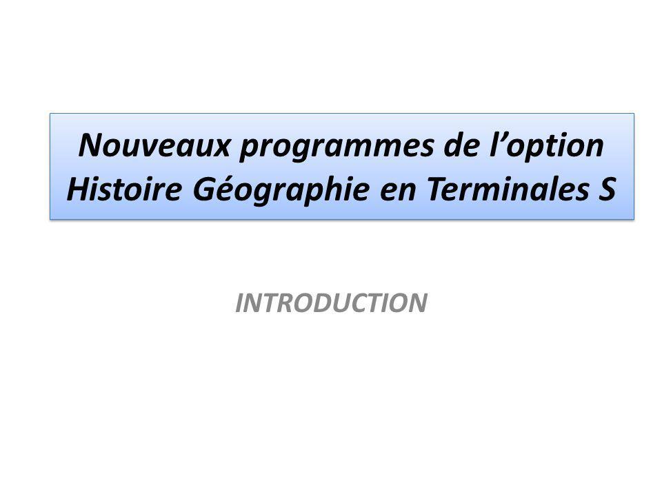 Nouveaux programmes de l'option Histoire Géographie en Terminales S