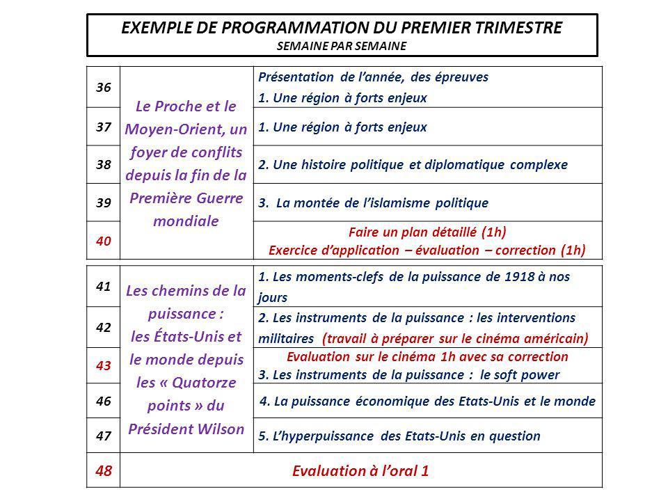 EXEMPLE DE PROGRAMMATION DU PREMIER TRIMESTRE