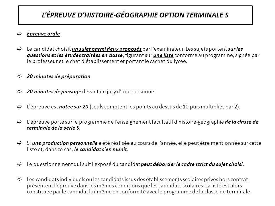 L'ÉPREUVE D'HISTOIRE-GÉOGRAPHIE OPTION TERMINALE S