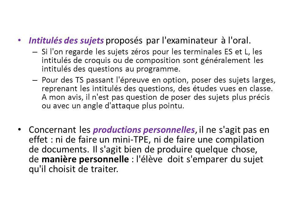 Intitulés des sujets proposés par l examinateur à l oral.