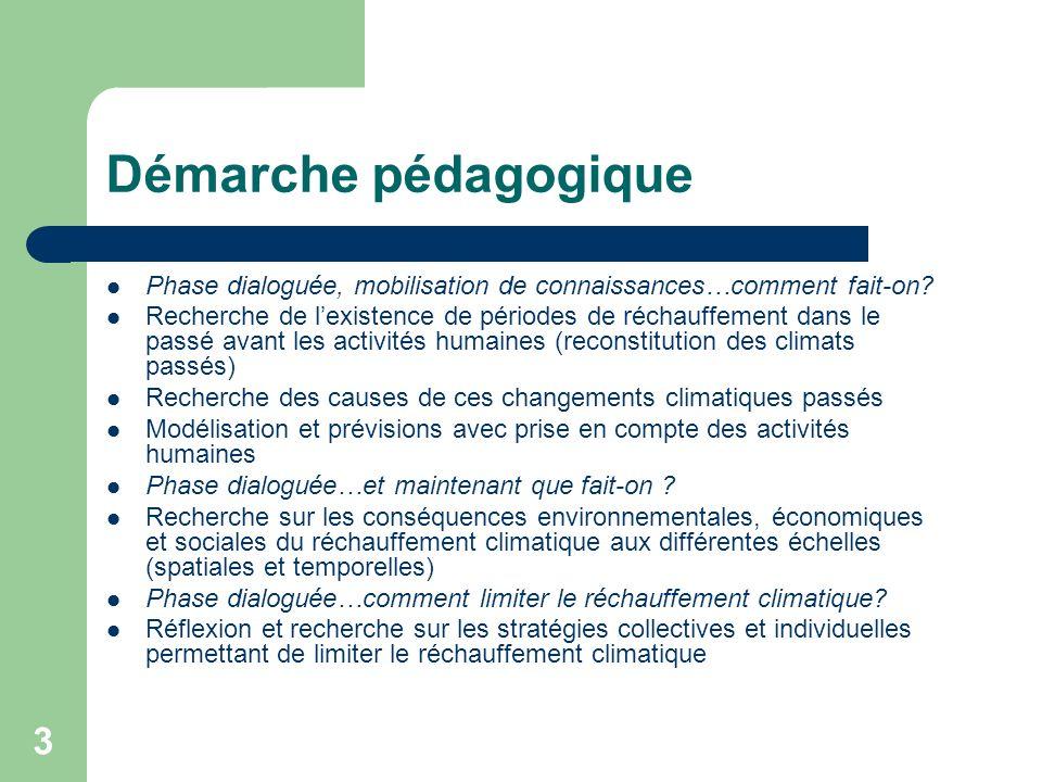 Démarche pédagogique Phase dialoguée, mobilisation de connaissances…comment fait-on