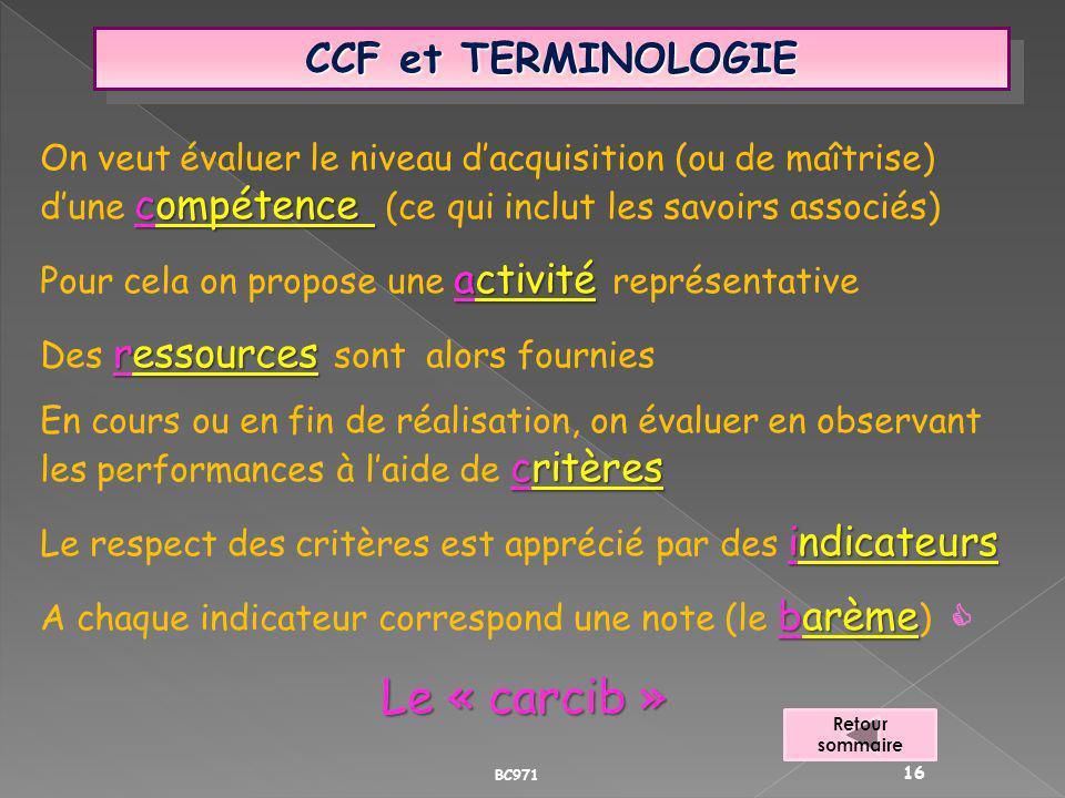 Le « carcib » CCF et TERMINOLOGIE