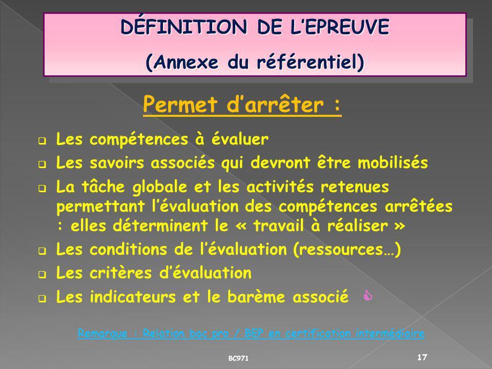 Permet d'arrêter : DÉFINITION DE L'EPREUVE (Annexe du référentiel)