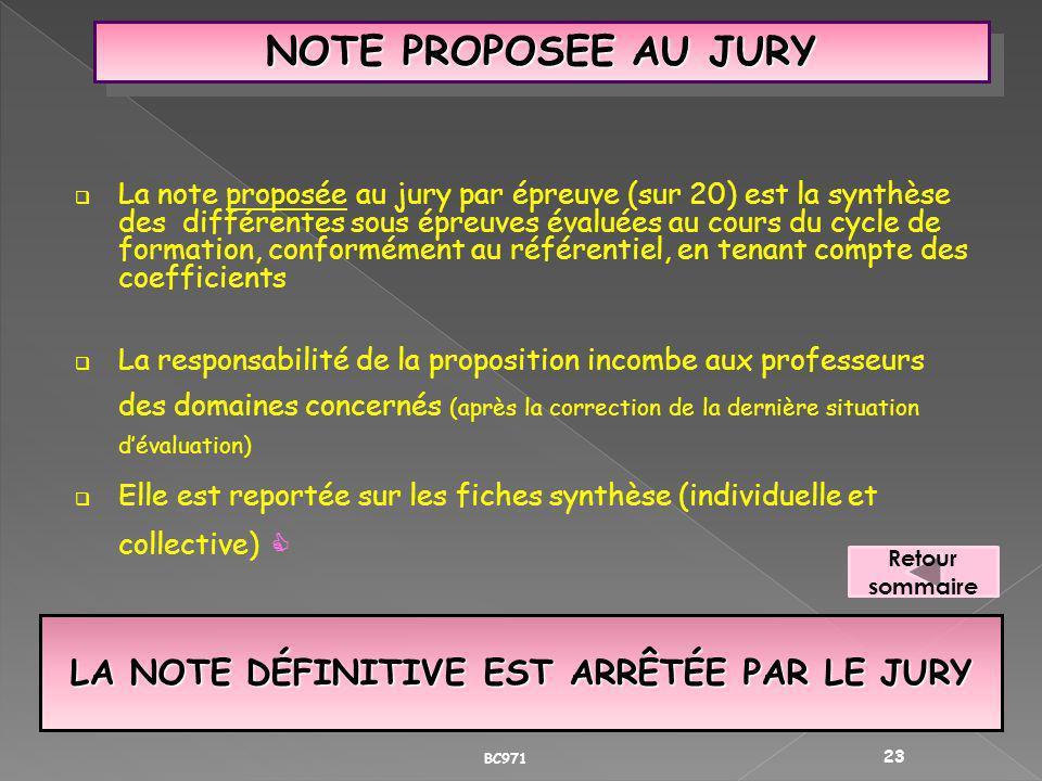 LA NOTE DÉFINITIVE EST ARRÊTÉE PAR LE JURY