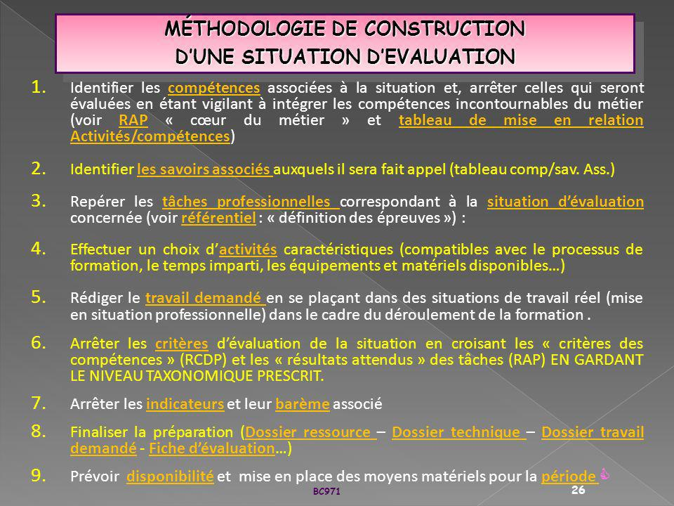 MÉTHODOLOGIE DE CONSTRUCTION D'UNE SITUATION D'EVALUATION