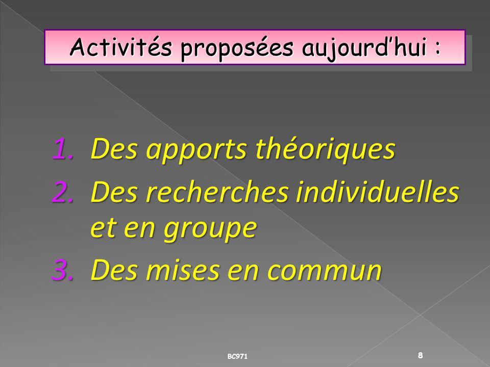 Activités proposées aujourd'hui :