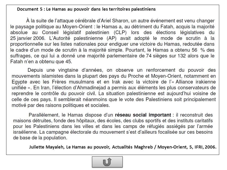 Document 5 : Le Hamas au pouvoir dans les territoires palestiniens