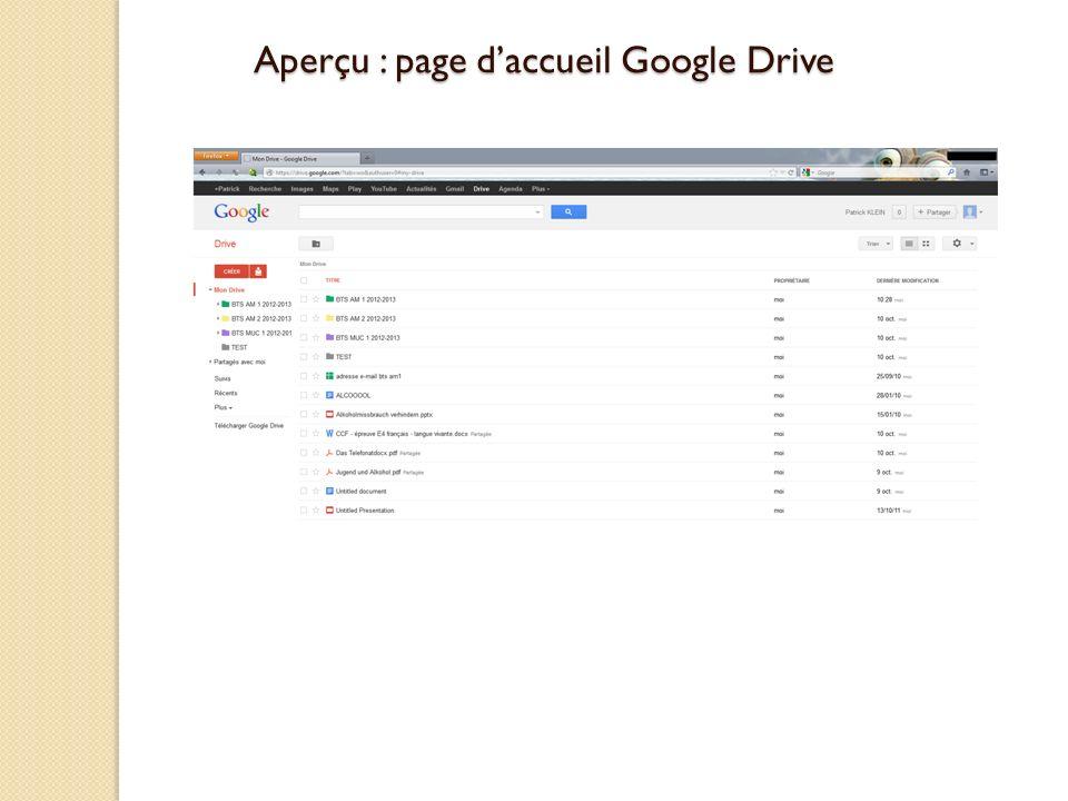Aperçu : page d'accueil Google Drive