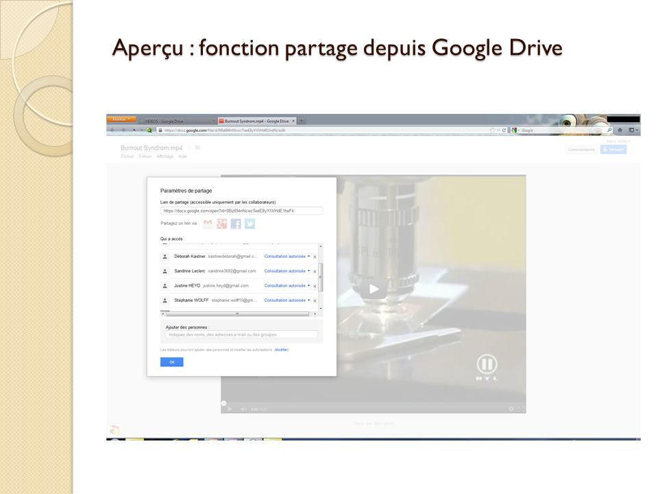 Aperçu : fonction partage depuis Google Drive