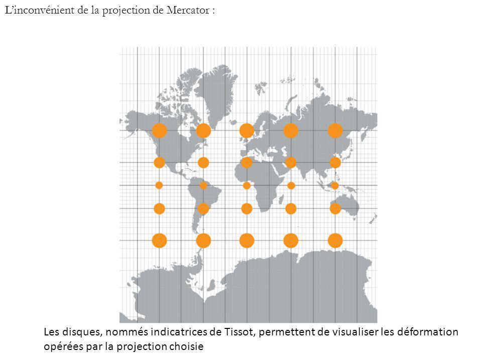 L'inconvénient de la projection de Mercator :