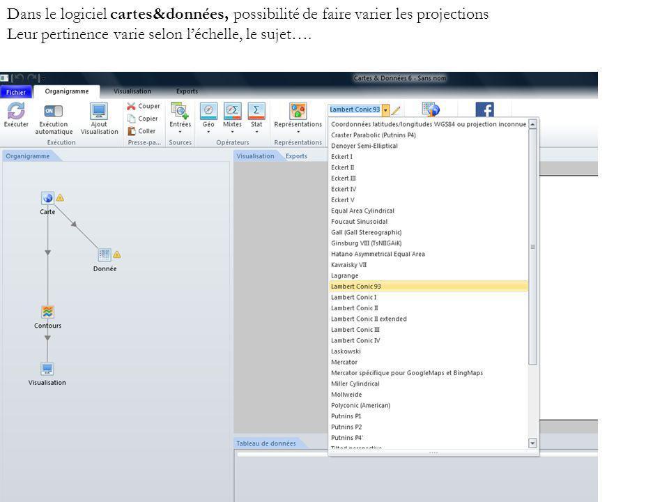 Dans le logiciel cartes&données, possibilité de faire varier les projections