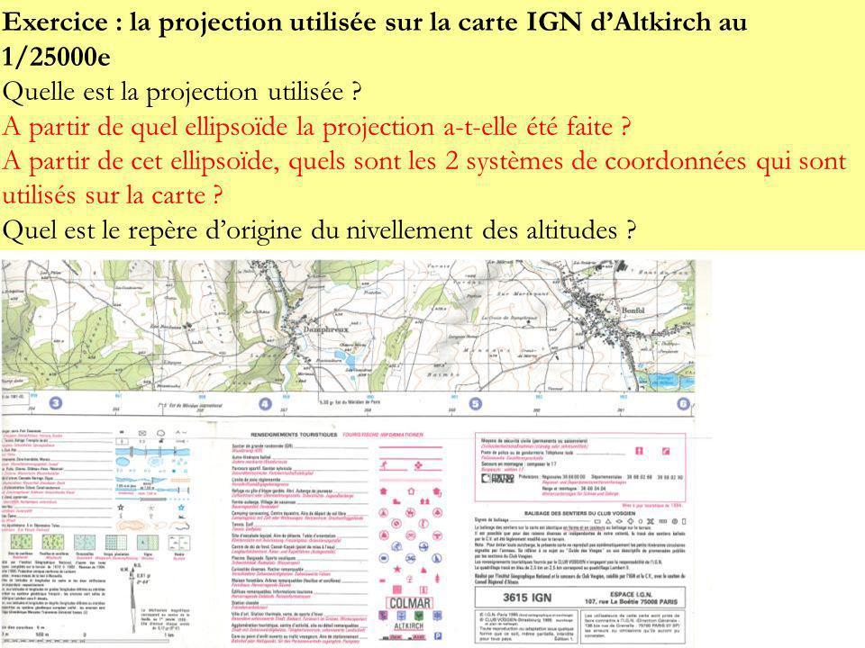 Exercice : la projection utilisée sur la carte IGN d'Altkirch au 1/25000e