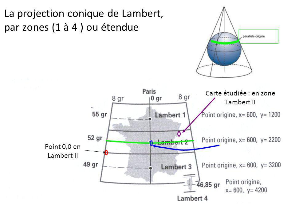La projection conique de Lambert, par zones (1 à 4 ) ou étendue
