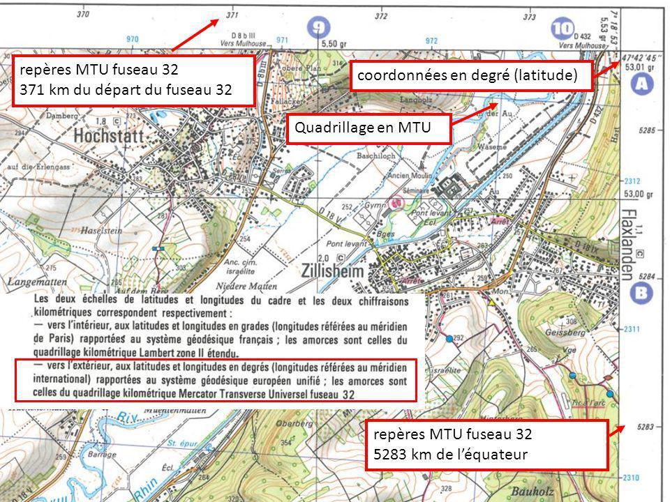 repères MTU fuseau 32 371 km du départ du fuseau 32. coordonnées en degré (latitude) Quadrillage en MTU.