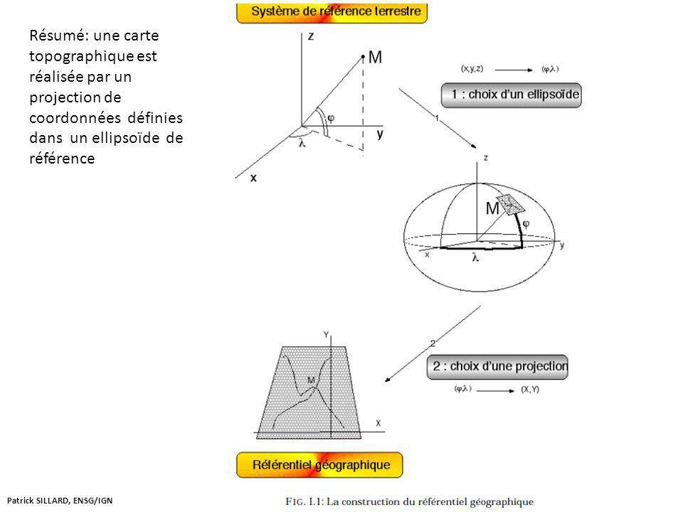 Résumé: une carte topographique est réalisée par un projection de coordonnées définies dans un ellipsoïde de référence