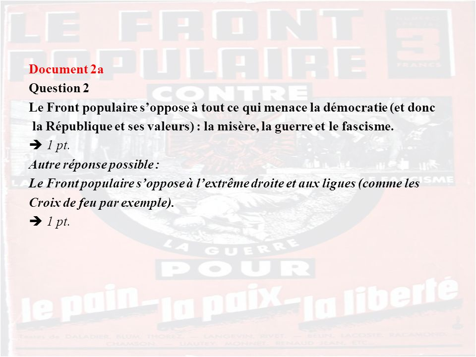 Document 2a Question 2. Le Front populaire s'oppose à tout ce qui menace la démocratie (et donc.