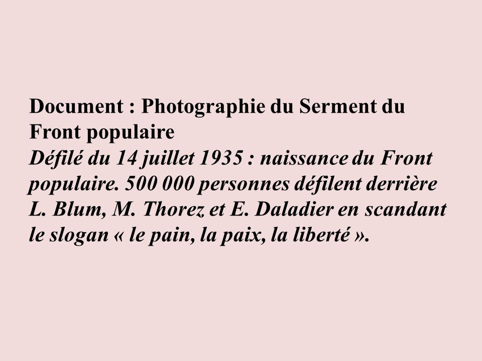 Document : Photographie du Serment du Front populaire Défilé du 14 juillet 1935 : naissance du Front populaire.