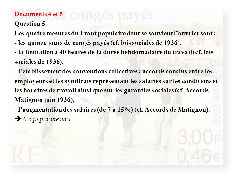 Documents 4 et 5 Question 5 Les quatre mesures du Front populaire dont se souvient l'ouvrier sont : - les quinze jours de congés payés (cf.