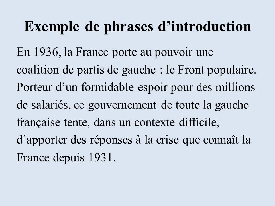 Exemple de phrases d'introduction